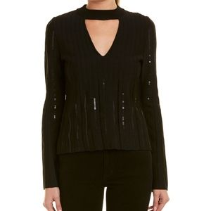 Jonathan Simkhai Black Cut Out Sequin Top Medium